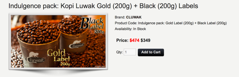 An example of the exorbitant prices commanded by Kopi Luwak. This is a screenshot from cluwak.com.